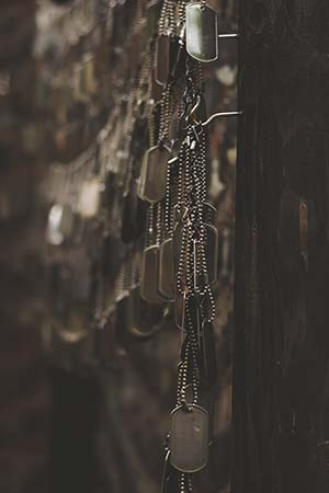 Wall of dog tags